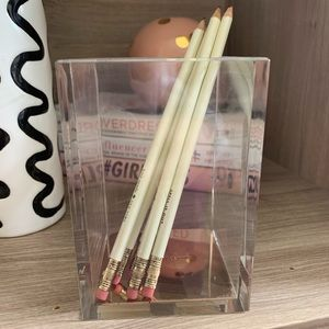 Kate Spade Clear Lucite Pencil Holder w Pencils
